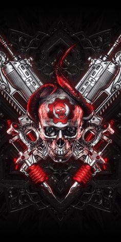 Gears of War, pc games, logo, skull and guns wallpaper Gears Of War 3, Geforce Wallpaper, Tattoo Studio, Hacker Wallpaper, Supreme Wallpaper, Gothic Fantasy Art, Totenkopf Tattoos, Skull Pictures, Game Logo Design