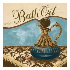 Bath Accessories II - Blue Bath Oil Giclee Print by Gregory Gorham at Art.com