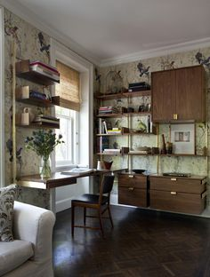 wood and brass wall shelving