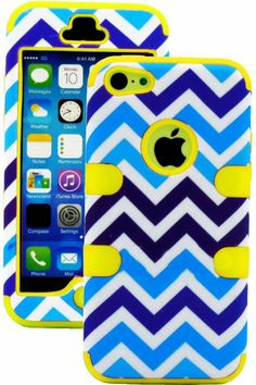 Amazon.com: myLife (TM) True Yellow + Blue and White Chevron 3 Layer (Hybrid Flex Gel) Grip Case for New Apple iPhone 5C Touch Phone (Extern...