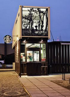 Starbucks drive-up/walk-up store in Tukwila, WA constructed entirely out of shipping containers