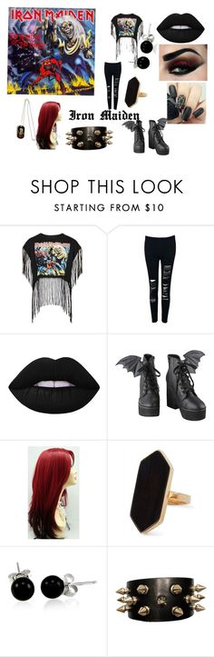 """Iron Maiden fan outfit"" by angelikadodekova on Polyvore featuring Topshop, Lime Crime, Iron Fist, Jaeger and Bling Jewelry"