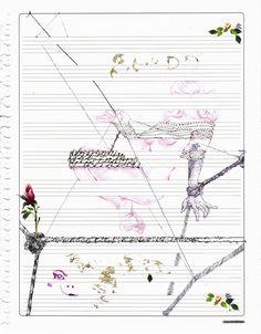 técnica mixta sobre partitura papel