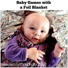 Baby games with a foil blanket.  Play ideas for a baby 0-6 months.