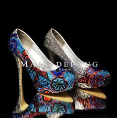 Exclusive Luxury Crystal floral prints platform heels by by MDNY