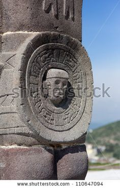 Toltec warriors. Ancient ruins of Tula de Allende, home of the Atlantean figures and the characteristic chacmools. In the state of Hidalgo, Mexico.