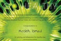 Congratulations to Mosleh Ismail who won the Go Healthy + Win competition.  Repin to send your congratulations #MovenpickHealthy #Winner
