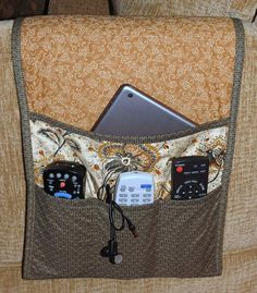 Armchair Caddy Bedside Caddy Remote holder by MiniMade on Etsy Remote Caddy, Remote Control Holder, Sewing Hacks, Sewing Crafts, Sewing Projects, Gadgets Électroniques, Electronics Gadgets, Bedside Caddy, Bed Caddy