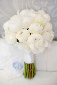 24 All White Wedding Bouquets Inspiration ❤ A very white bridal bouquet is a . White Peonies Bouquet, Peony Bouquet Wedding, White Wedding Bouquets, Bride Bouquets, Bridal Flowers, Floral Wedding, Purple Bouquets, Flower Bouquets, Wedding Dresses
