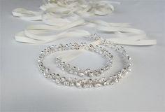Skinny bridal belt sash, Crystal wedding belt, Floating crystal waist sash, Petite crystal belt in gold or silver
