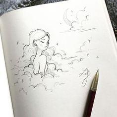 Cool Art Drawings, Pencil Art Drawings, Art Drawings Sketches, Moon Sketches, Hipster Drawings, Drawing Faces, Manga Drawing, Drawing Tips, Easy Drawings