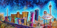 Viva Las Vegas A Fun And Funky Pop Art Painting Of The Vegas Skyline And Sign By Megan Duncanson Painting