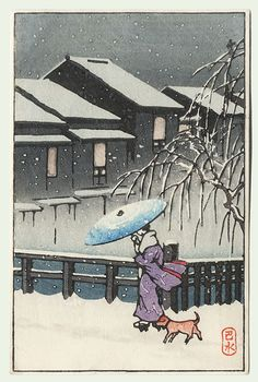 A Walk in the Snow by Kawase Hasui (1883 - 1957)
