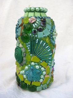 To prove you can tile the most ordinary of objects and turn them into something Grand!!!  Green Mosaic vase