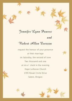 The Falling Leaves Layered Wedding Cards