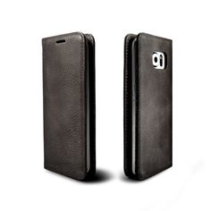 Samsung Galaxy S6 Edge Plus Leather Case, ETSHAIM Premium Genuine Vintage Cowhide Leather Wallet Case, LIBERTA for Samsung Galaxy S6 Edge Plus / Vintage Grey