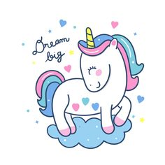 Cute Unicorn vector stand on cloud Pony cartoon pastel color, fantastic fairly tales character, Kawaii animal doodle style. Hand drawing, instructional media, Perfect for kid's greeting card, fashion artworks, children books, Print t-shirt.