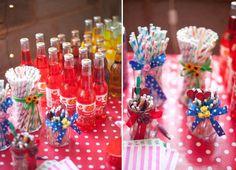 Colourful stripey straws and wedding reception drinks