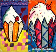 So here is the rest of our series of all things yummy! Students loved the work of Wayne Thiebaud and in these paintings we used the Alpha B...