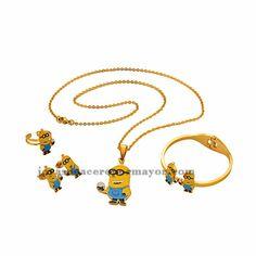 juego de joyas de dibujos animados amarillo con collar ,aretes,pulsera y anillo color dorado en acero inoxidable-SSNEG051270