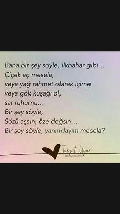Bana bir şey söyle, ilkbahar gibi Turgut Uyar Literature, Poems, Writer, Cards Against Humanity, Author, Feelings, Reading, Quotes, Literatura