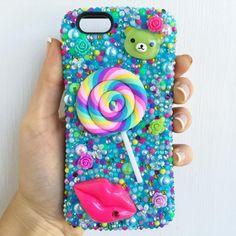 Sugar Sweet Pastel Confetti iPhone 6 Case  #lollipop #kawaii #phonecase #blingphonecase #bling #pastel #candy #munchies #cute #iphone6 #iphone6case #90s #tiedye