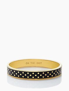 on the dot idiom bangle, black/gold