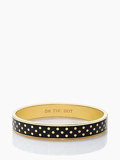 on the dot idiom bangle, black/gold