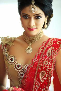 Dressed & Dress Disign by - Champi Siriwardana | Sri Lanka Wedding Sherwani, Punjabi Wedding, Saree Wedding, Indian Bridal Makeup, Indian Dresses, Indian Outfits, Sri Lankan Bride, Saree Jacket Designs, Saree Jackets