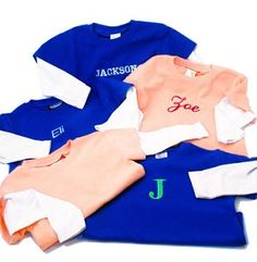 This is a great baby gift to get for a new baby or to purchase for your little loved one. These double layers tshirts come in two colors, blue and light pink. They come in various sizes from infant to toddler. These are great plain or can be personalized with a single letter, intials or full name. A great blend of cotton, polyester and a touch of spandex makes these T's the best you'll ever see.