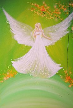 """Limited angel art poster """"Spring feeling"""", modern contemporary angel painting, artwork, print, glossy photo❤️"""