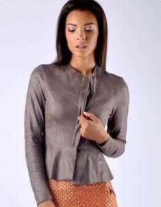 Collarless Peplum Jacket - Taupe Peplum Jacket, Diana, Taupe, Elegant, Chic, Blouse, Long Sleeve, Sleeves, Jackets