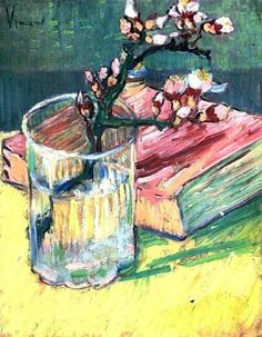 Vincent Van Gogh. Blossoming Almond Branch in a Glass with a Book (1888).