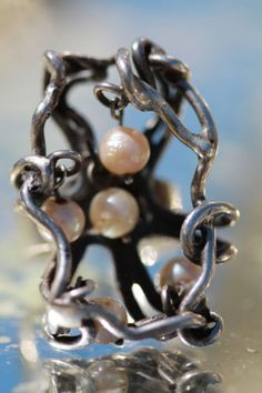 Vintage Mexican 925 Sterling Silver Plata Modernist Dangle Pearl Cage Ring | eBay