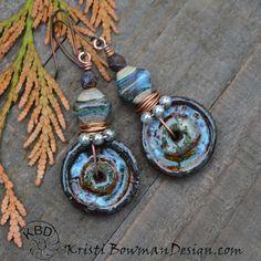 Stoneware Discs Organiz Lampwork Bead by KristiBowmanDesign