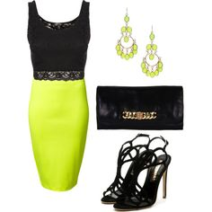 outfit: black cropped lace-rimmed singlet, knee-length lime-green pencil-skirt, gold / lime-green circular-stoned chandelier earrings, black / gold chain clutch, black strappy stilletos
