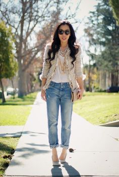 Yes...you may have this in your closet! CAbi Chenille Jacket and Brando Jeans with a simple white tee