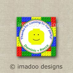 Lego Birthday Favor Tags/Gift Tags/Favor Stickers - Customized and Printable DIY