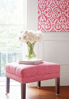 PONGO, Pink and White, Collection Woven Companions from Thibaut Do It Yourself Design, Pink Room, Fine Furniture, Furniture Market, Accent Furniture, Trendy Bedroom, Fabric Wallpaper, Decoration, Interior Inspiration