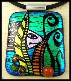 Aquarium ~ hand engraved dichroic glass, dimensional hand made murrine