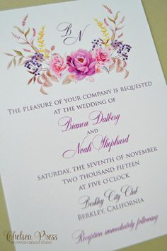 Watercolor floral PRINTED wedding invitation by ChelseaPress on Etsy