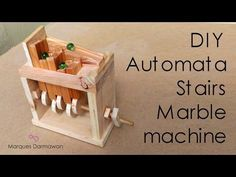 DIY automata stairs marble machine (free pattern) hi guys.project ini s. Used Woodworking Machinery, Woodworking School, Youtube Woodworking, Woodworking Projects That Sell, Woodworking Toys, Woodworking Workshop, Woodworking Classes, Diy Automata Toys, Toy Box Plans