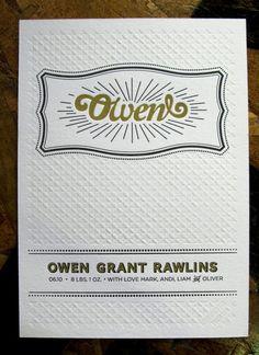 Letterpress Birth Announcements Mark Rawlins Mandate Press5 550x757 Black + Gold Birth Announcements for Baby Owen