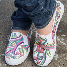 Stepping Out in Swirls Slip-Ons - This Design is more like my style, I can Zentangle with Paint. Done with tulip paint pens.