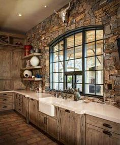 Are you looking for rustic kitchen design ideas to bring your kitchen to life? I have here great rustic kitchen design ideas to spark your creative juice. Rustic Kitchen Cabinets, Rustic Kitchen Design, Rustic Design, Oak Cabinets, Rustic Kitchens, Kitchen Sink, Rustic Decor, Stone Kitchen, Western Kitchen Decor