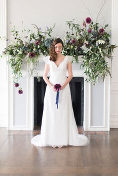 Florals by photo by as featured on ! flower mantle - London Wedding at Wedding Fireplace Decorations, Wedding Mantle, Wedding Venue Decorations, Garland Wedding, Wedding Table Centerpieces, Wedding Venues, Wedding Ceremonies, Purple Wedding, Floral Wedding