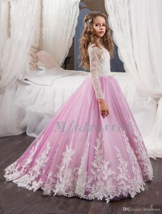 563648aa664a35 2017 New Desigin Party Formal Ivory Pink Flower Girl Dress Baby Pageant Gowns  Girls Birthday Communion