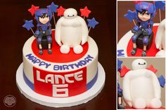 Big Hero 6 cake with Hiro and Beymax.
