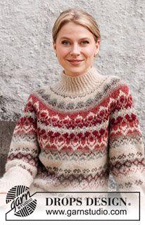 Fair Isle Knitting Patterns, Fair Isle Pattern, Sweater Knitting Patterns, Knitting Designs, Knit Patterns, Free Knitting, Drops Design, Tejido Fair Isle, Icelandic Sweaters