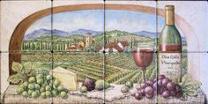 """Tuscany Blue Hills Vineyards""   View of  vineyards in Tuscany.   Space saving painting for those on a budget or don't have room for a larger painting.   Good for mounting above stove and below overhead microwave.    Custom designed decorative kitchen backsplash tile mural idea.   Hand painted on 6 x 6 inch Venetian Stone, Rialto White porcelain tile."